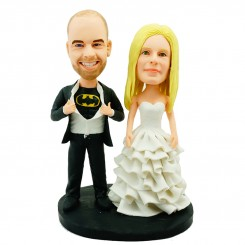 customised wedding cake topper bride tearing off shirt showing batman logo