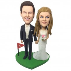 customised wedding cake topper golf flag theme