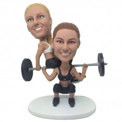 customised weightlifting female couple bobblehead
