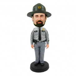 customized cop bobblehead wearing a hat