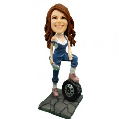 customized female mechanic bobblehead