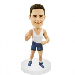 customized male runner bobble head doll