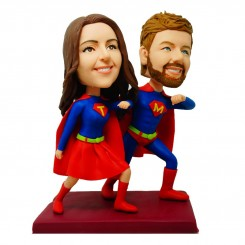 customized superhuman couple bobbleheads