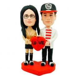 fashion couple with red heart personalised bobblehead