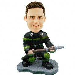 fireman with hose bobblehead personalized