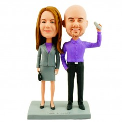 friendly colleague couple custom bobblehead