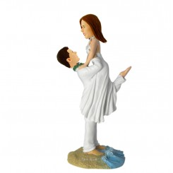 groom lift bride wedding cake topper