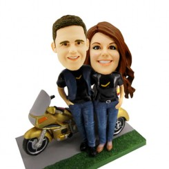 motorcycle couple bobbleheads personalised