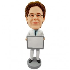 personalised doctor bobblehead holding a sign panel
