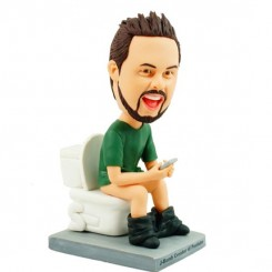 personalised funny shiting and playing mobile phone bobblehead