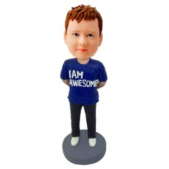 personalised kid bobblehead in blue t shirt