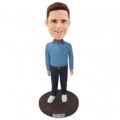 personalised male bobblehead in blue shirt bobblehead