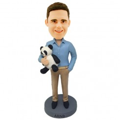 personalised male bobblehead with a panda