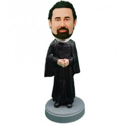 personalised priest holding cross bobblehead