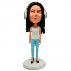 personalised slim female with a headset bobblehead