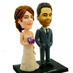personalised wedding bobbleheads cake topper