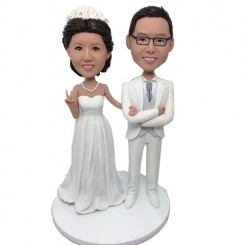 personalised white dress wedding bobbleheads