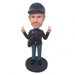 personalized casual man bobblehead with hands up