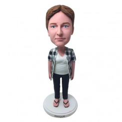 personalized casual woman bobblehead