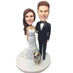personalized couple and dog wedding cake topper
