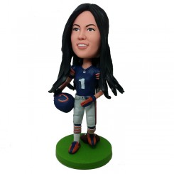 personalized female football player bobblehead