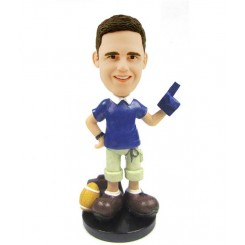 personalized football fan bobblehead
