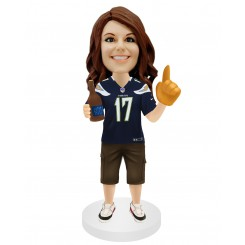 personalized football female fans bobblehead doll holding a bottle of beer