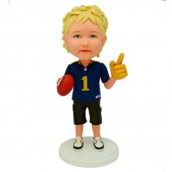 personalized little football fans bobblehead