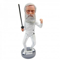 personalized male fencing bobblehead doll