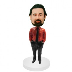 personalized male in red shirt bobblehead