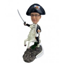personalized male riding with a knife bobblehead