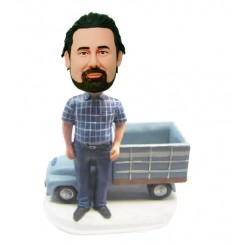 personalized man with truck bobbleheads
