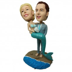 personalized mermaid couple bobblehead