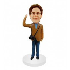 personalized photographer waving one hand  bobblehead