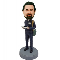 personalized post man with mail bobblehead