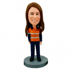 personliased female firefighter bobblehead