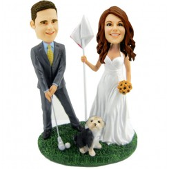 wedding cake topper golf bobblehead