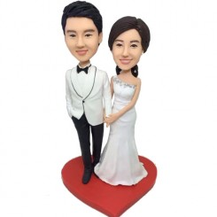 white formal dress wedding custom bobbleheads