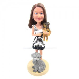 beauty with two small dogs custom bobblehead