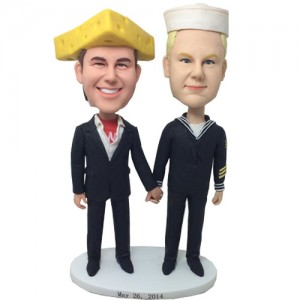cheesehead man and chef wedding bobblehead