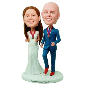 custom champion wedding couple bobbleheads