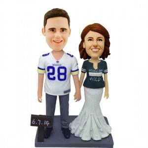 custom football fans wedding bobble heads