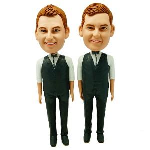 custom groomsmen bobblehead two items