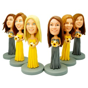 custom six bridesmaid bobble heads