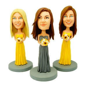 custom three bridesmaid bobble heads
