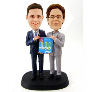 custom two male hold a board bobbleheads