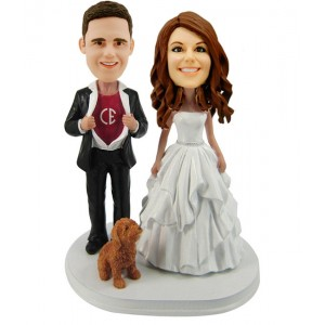 custom wedding bobblehead with a dog