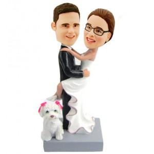 custom wedding cake topper with a dog