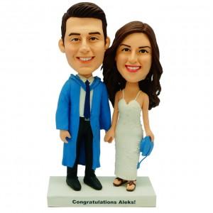 personalized graduation couple bobblehead