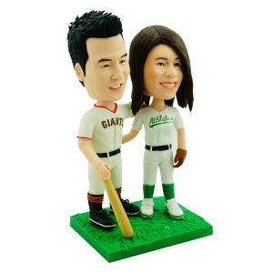 custom baseball fans couple bobblehead